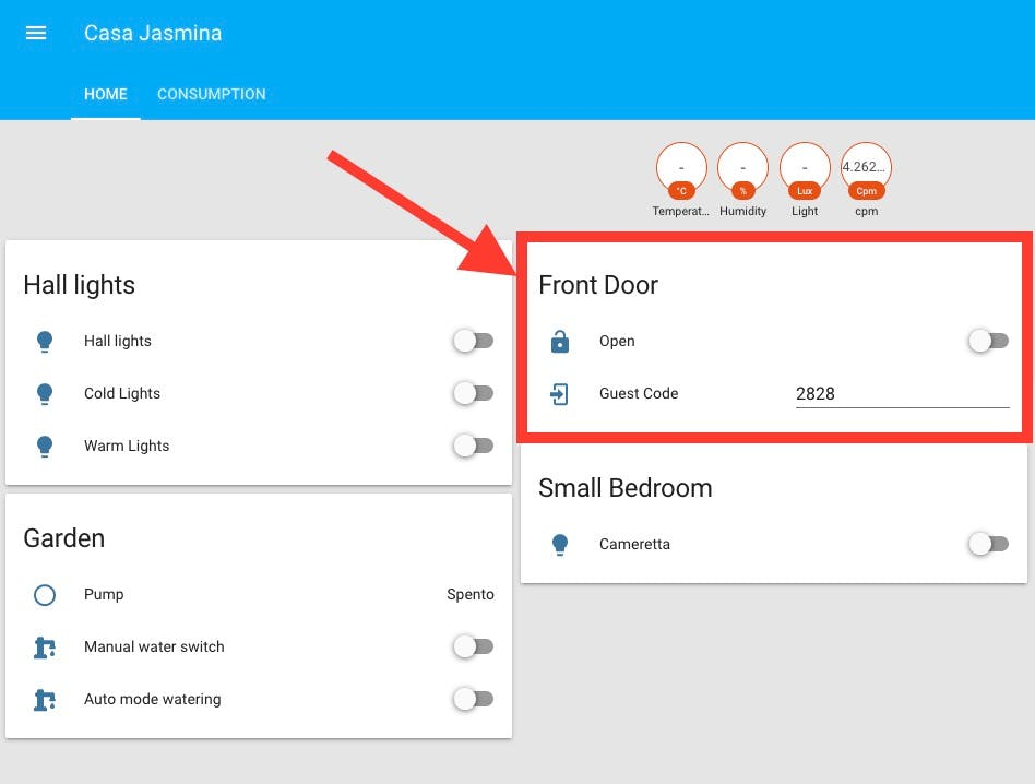 Home Assistant dashboard with door controls.