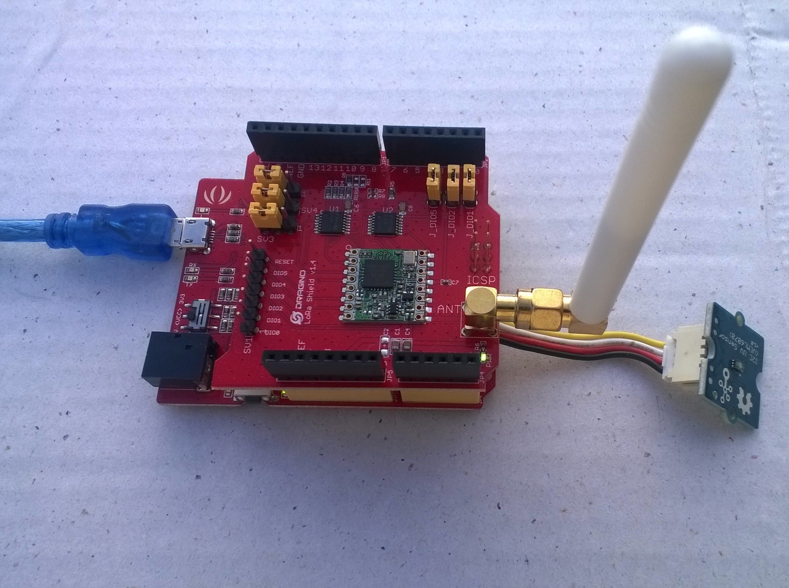 Proof of concept LoRa connected UV sensor