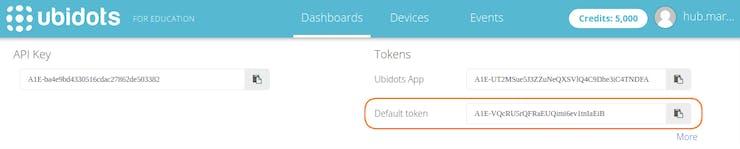 Create account on Ubidots, in top-right menu choose API Credentials, copy Default Token