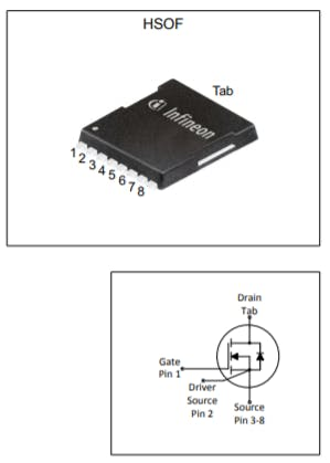 Look at the four pins of da Mosfet