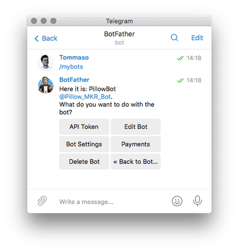 Text @BotFather with the /mybot command and select your Bot and Bot Settings