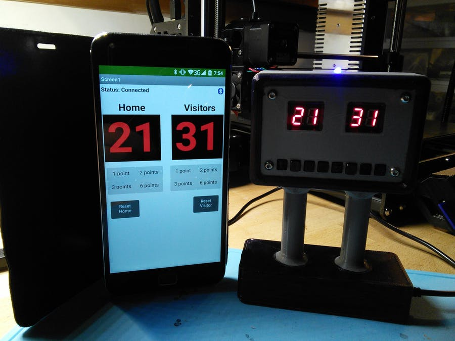 Scoreboard with ESP32 and TM1638 with BLE Android app - Hackster io