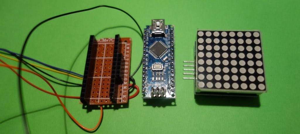 PCB with socket strip for Arduino and LED matrix