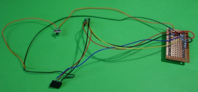 Wired componets: tilt sensors and on/off-switch