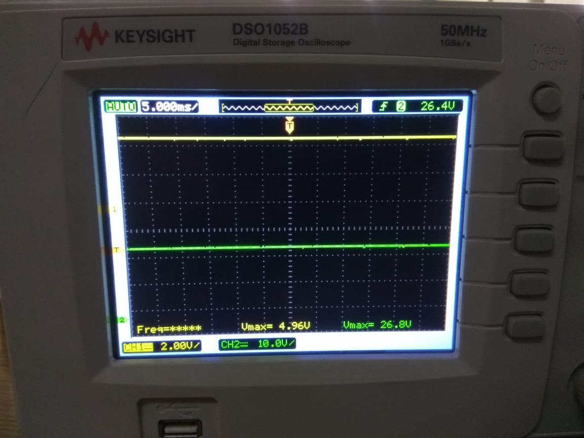 Yellow Channel for LM7805 Green Channel at DC-DC Boost output