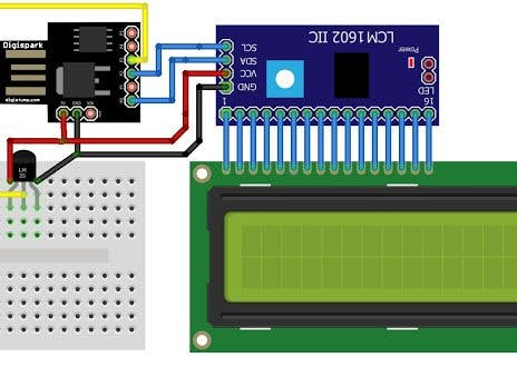Interfacing Digispark with Temperature Sensor LM35