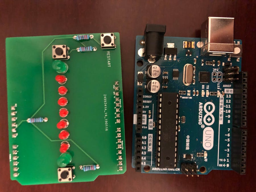 """Arduino Controlled LED Multi-Player Game on Arduino """"Shield"""""""
