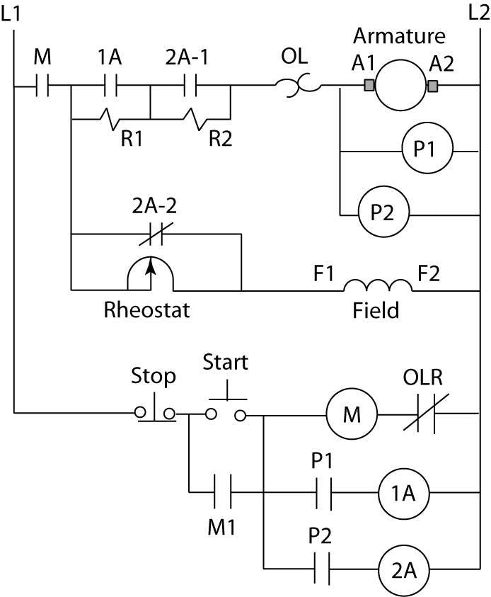 Counter EMF DC motor starter circuit diagram