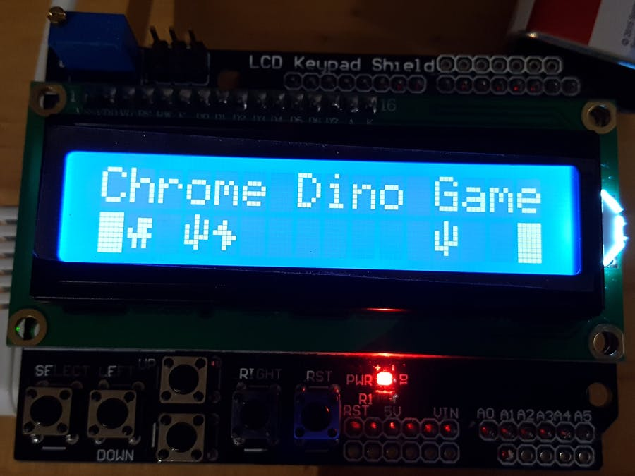 The Chrome Dino Game on an LCD Shield