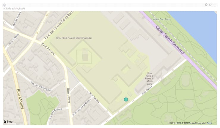 The blue point on the map indicates the spot where we tested the pothole detection system.