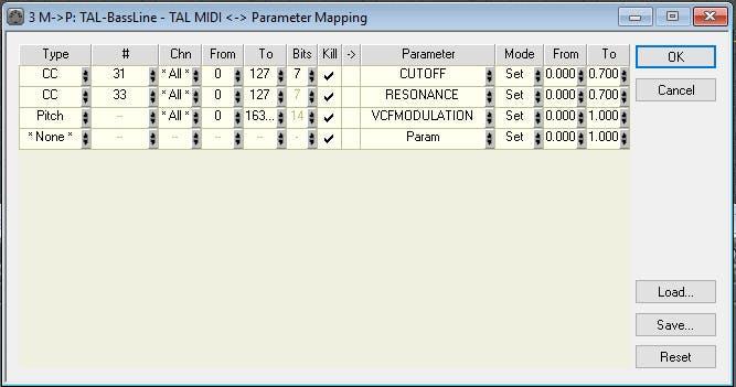 """""""MIDI rIoT!"""" to TAL bassline MIDI CC mapping"""