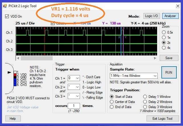 VR1 = 1.116 volts, duty cycle = 12%