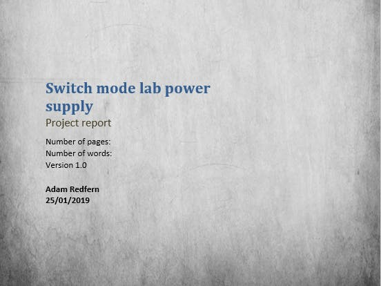 Switch Mode Lab Power Supply