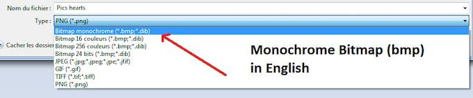 Make sure the little pictures have Monochrome Bitmap format