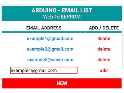 Arduino - Set Email List via Web