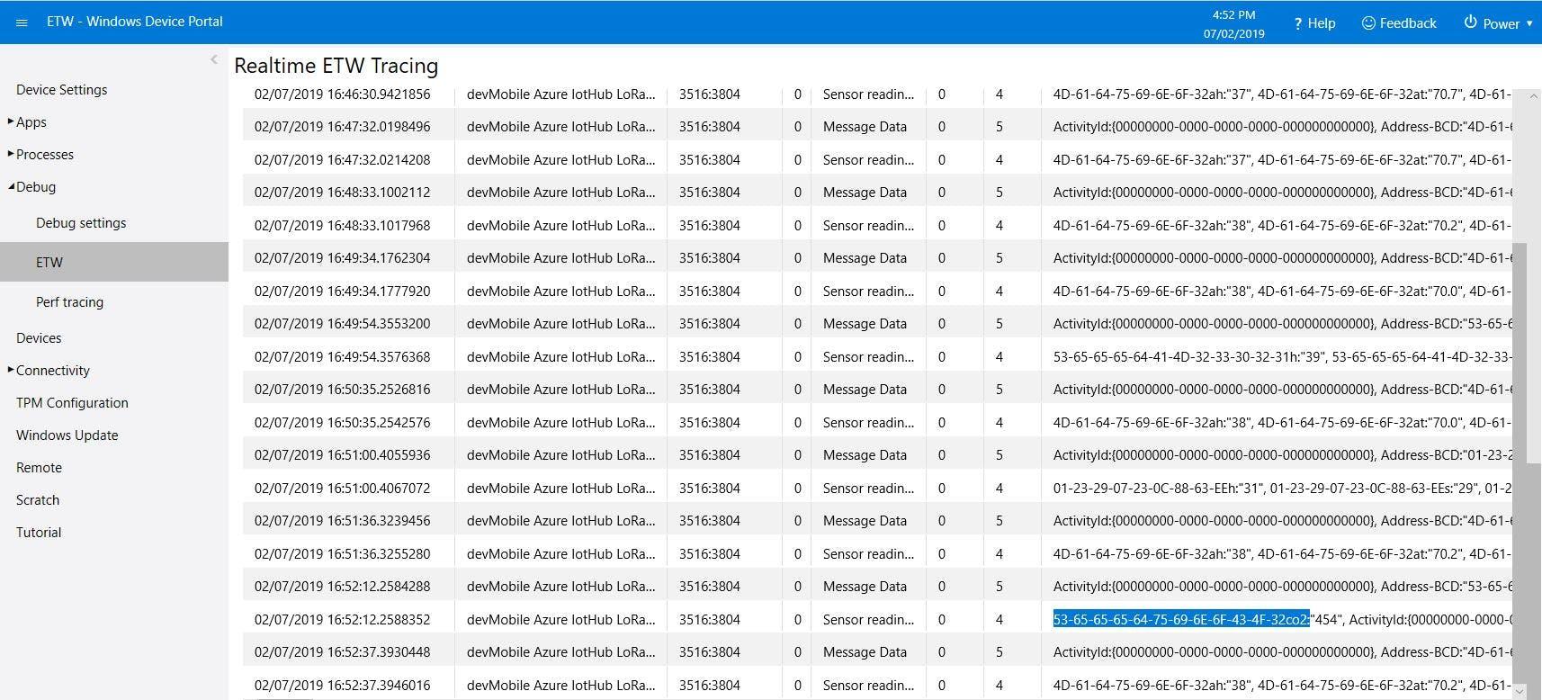 Azure IoT Central/Azure IoT Hub Gateway ETW Logging