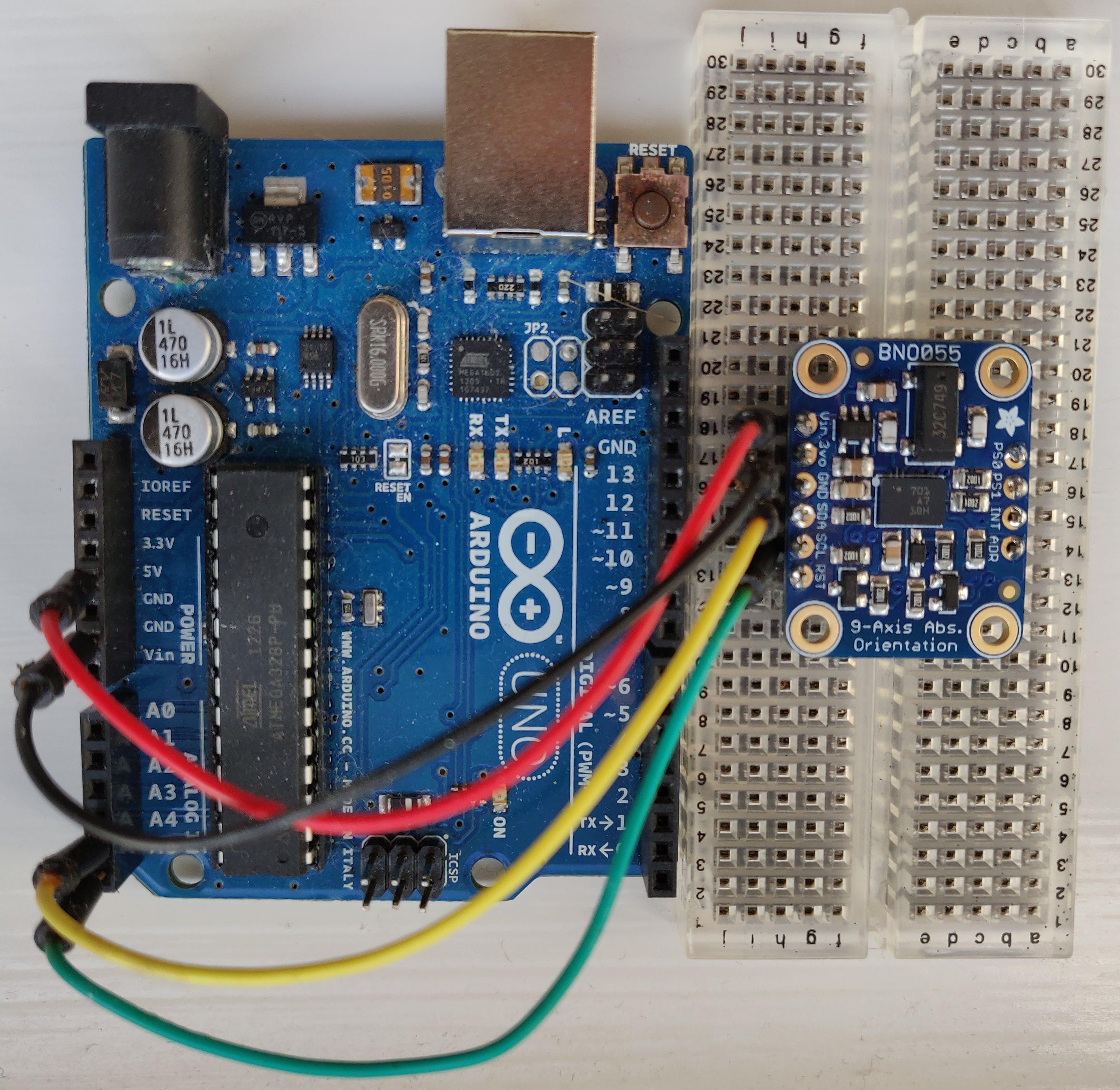 Wiring Adafruit BNO055 breakout to an Arduino Uno