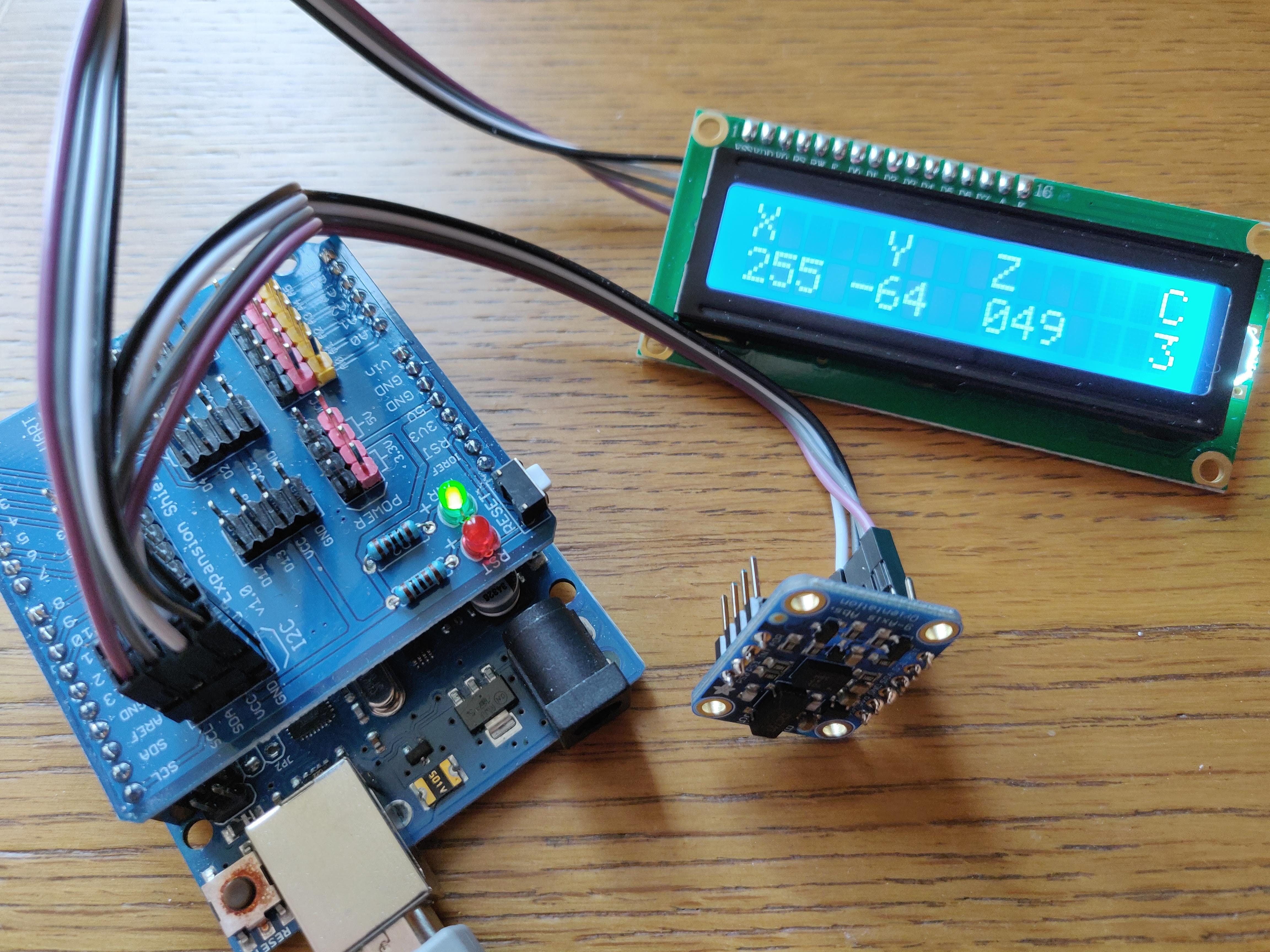 16x2 LCD screen displaying output from BNO055 absolute orientation sensor