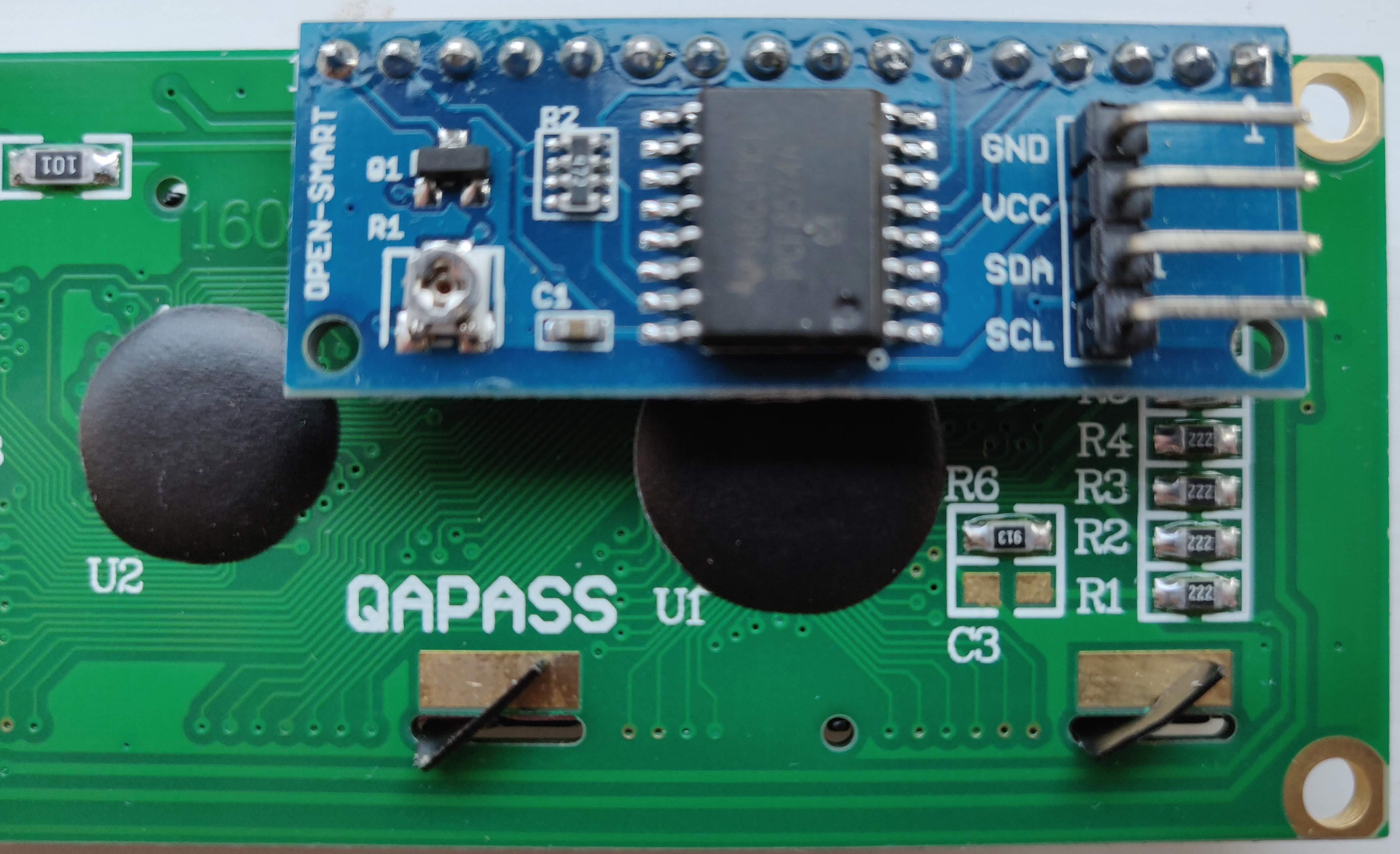Terminals on the 16x2 I²C LCD screen.