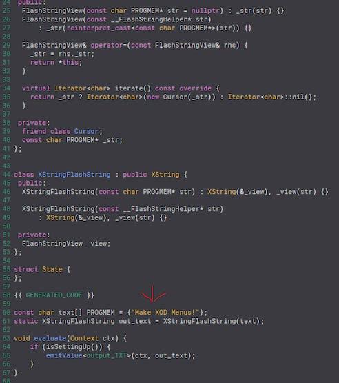"A ""hack"" to reduce SRAM overhead in menu-sketches - ensure long, static strings are in PROGMEM.."