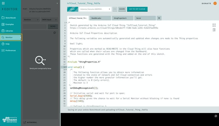 Arduino Create Editor - Serial Monitor