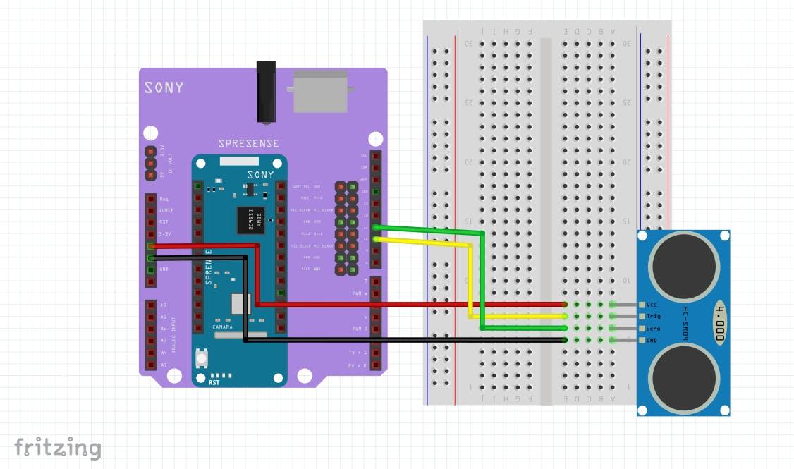 Scheme: Connect Sony Spresense and HC-SR04
