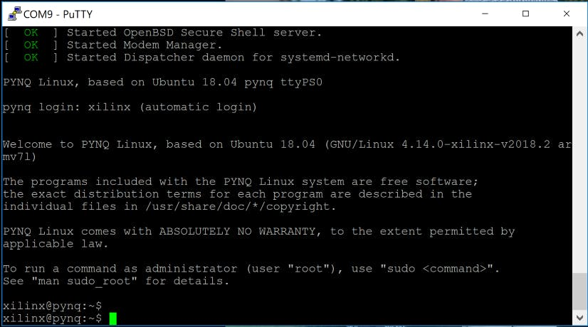 Successful Cora boot using Pynq