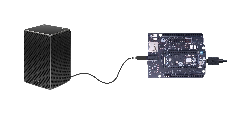 Scheme: Connect Sony Spresense board and speaker