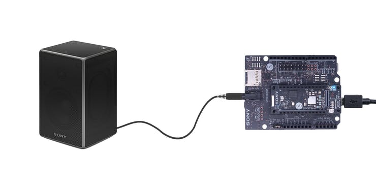 Scheme: Connect Sony Spresense board and speaker