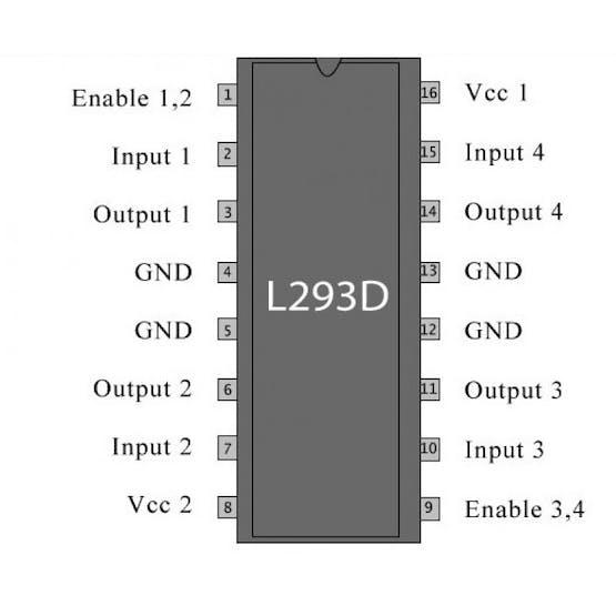 L293D Pin Out Diagram
