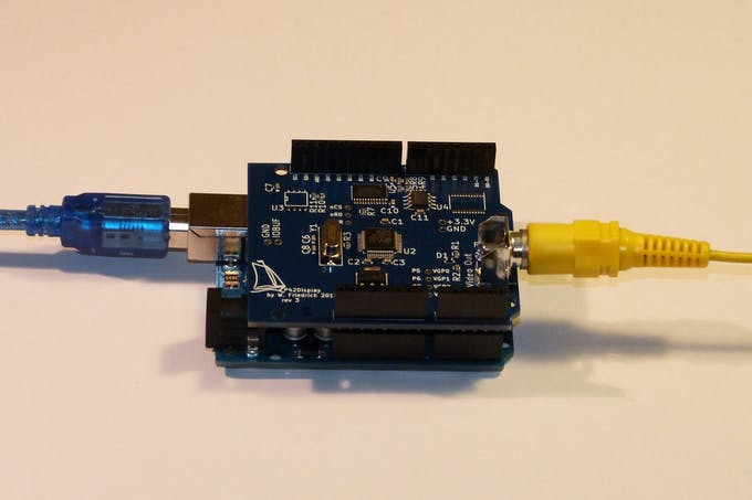 Operational shield plugged into an Arduino Uno