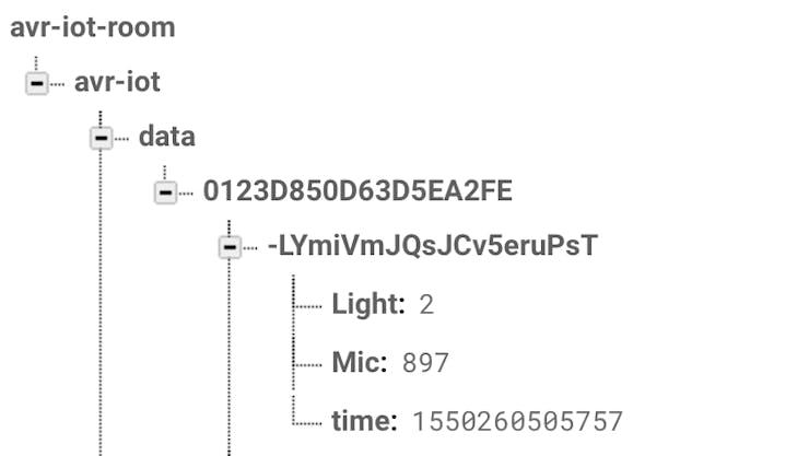 Firebase sensor entries