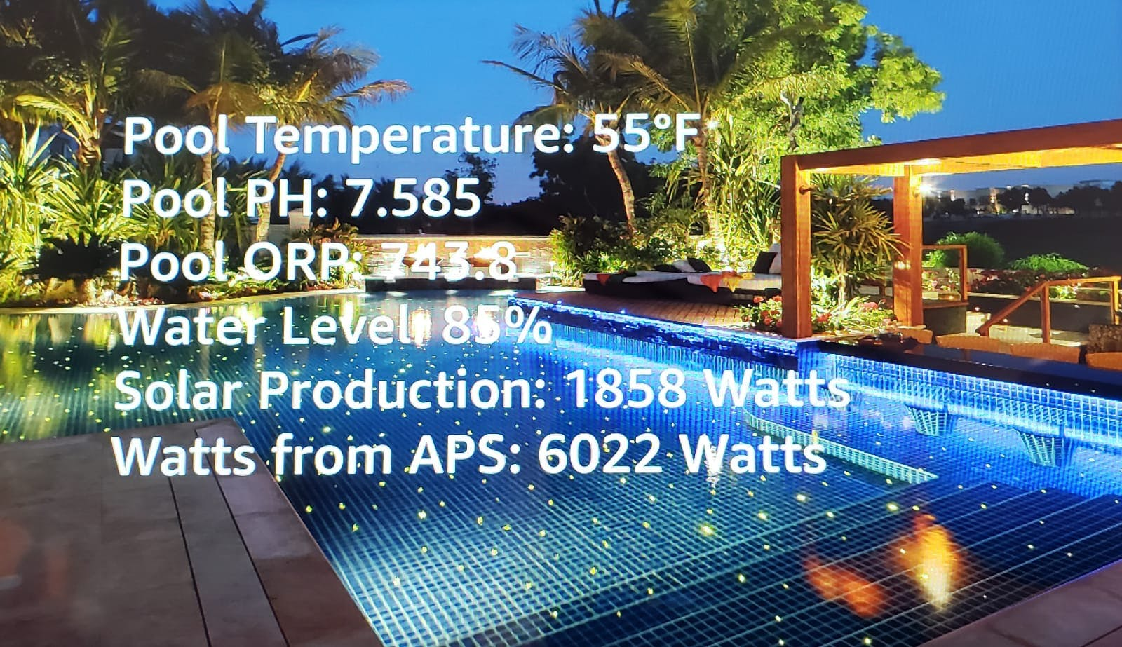 Alexa Show Interface with pool, electrical and solar stats