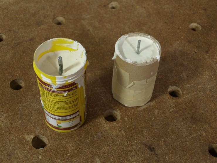 Plaster poured into tube mold