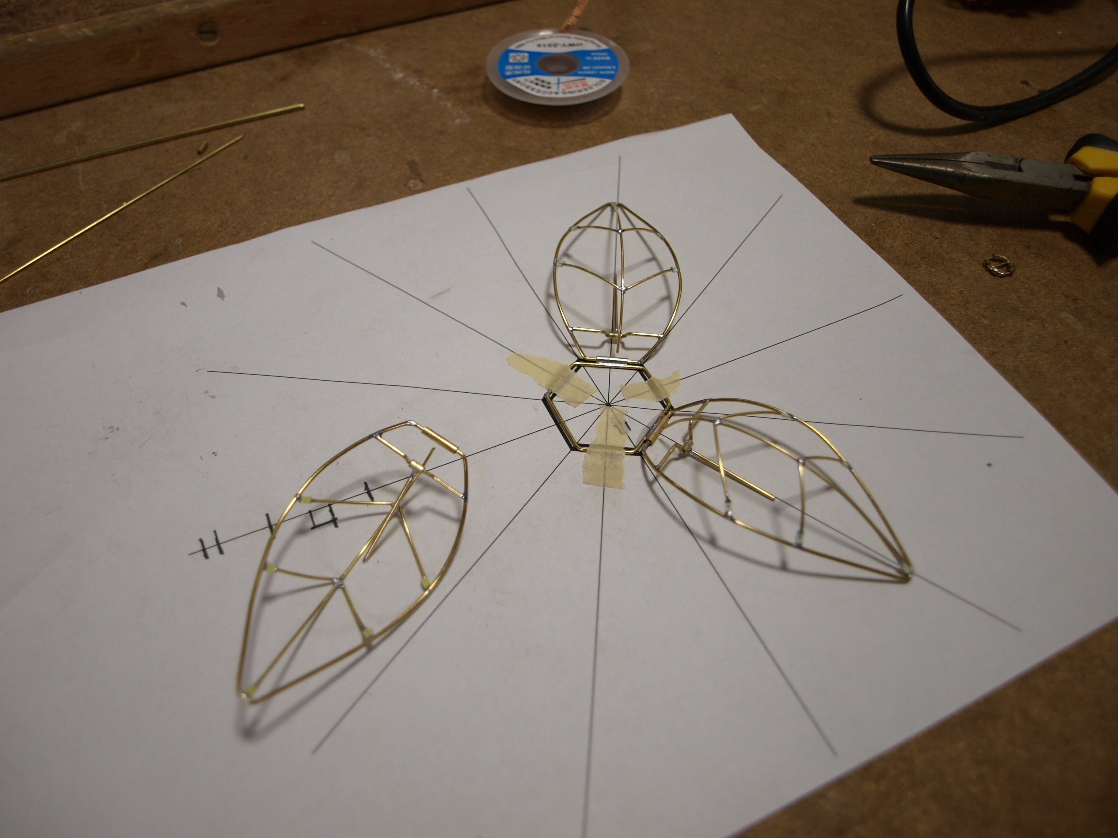 Using template to solder the petals
