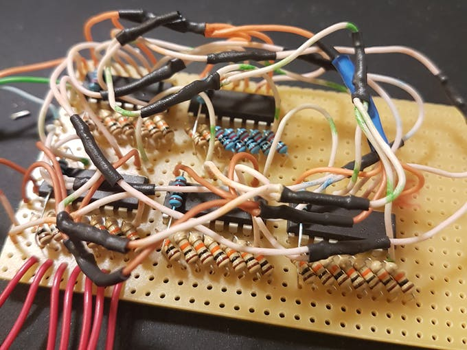 Shift registers daisy chained and some 10k ohm resistors
