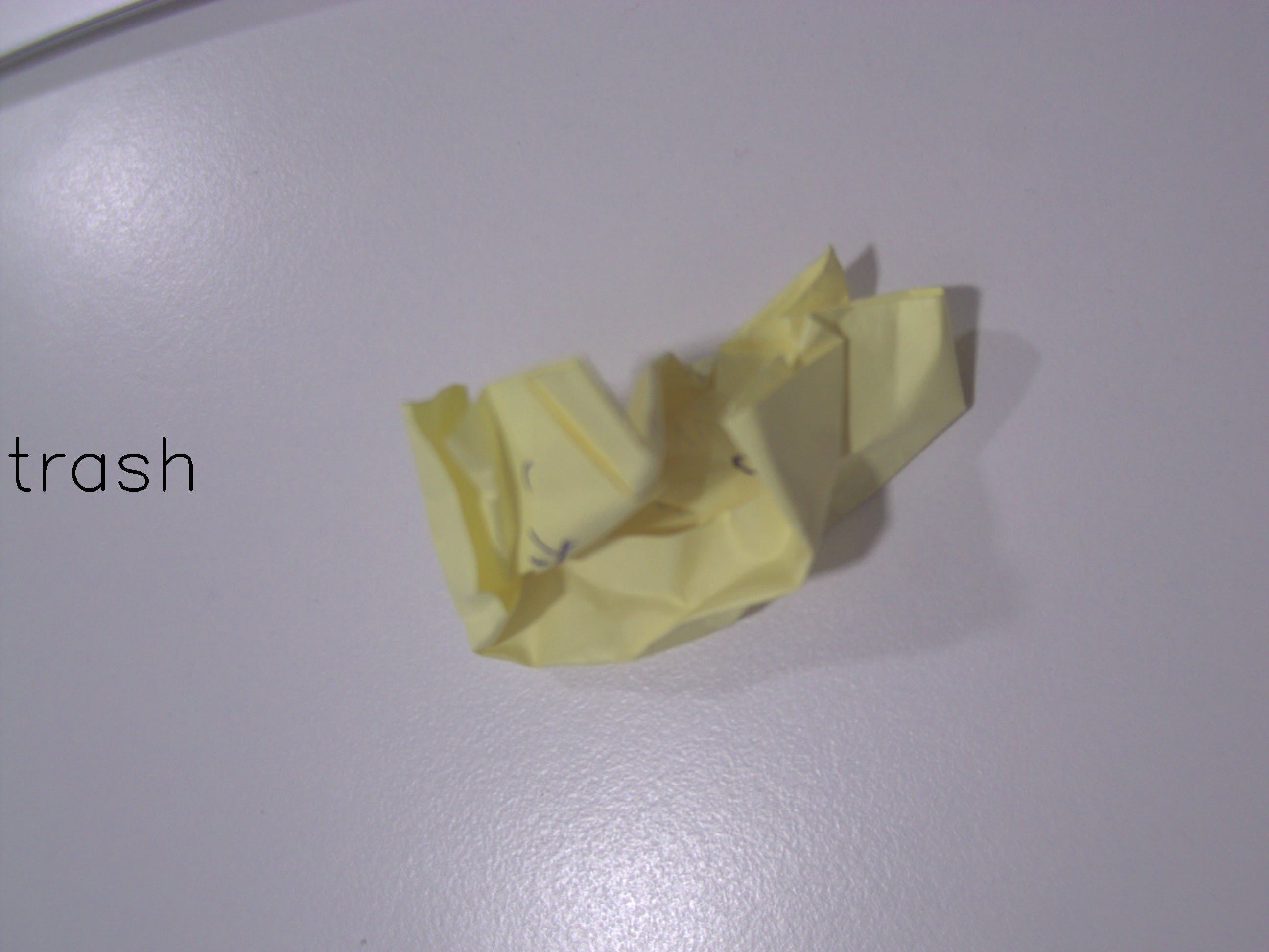 This piece of post it was predicted as trash
