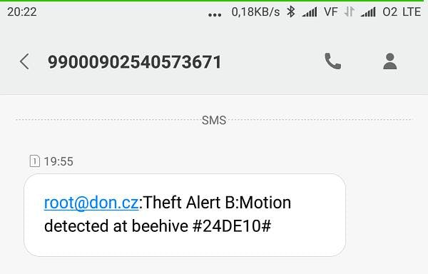 Detail of Theft Alert SMS