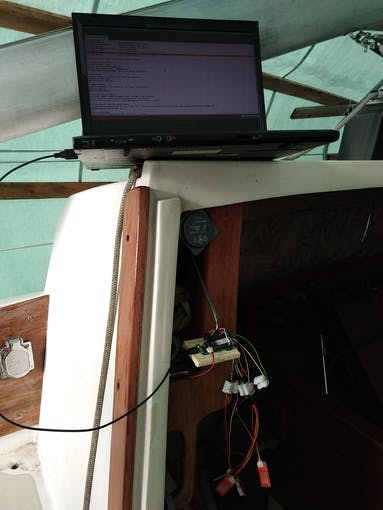 Testing the connection to the Victron battery monitor. The water sensors and DHT22 are dangling by their short testing wires