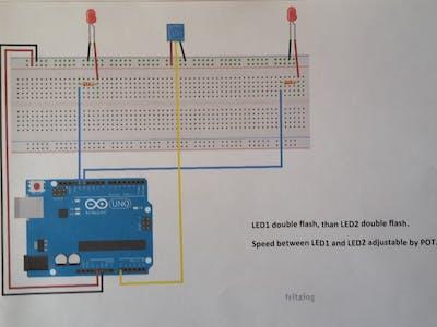 Arduino UNO + Flashing LEDs + POT