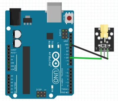 Connection of KY-008 Laser Module​ with Arduino