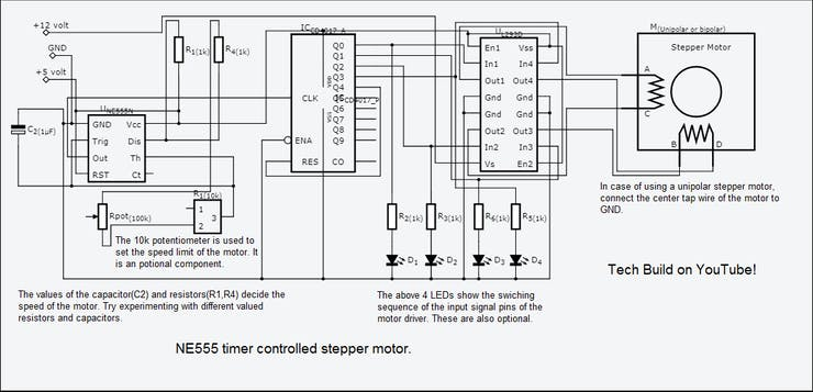 Stepper Motor Speed Control with an NE555 Timer - Hackster io