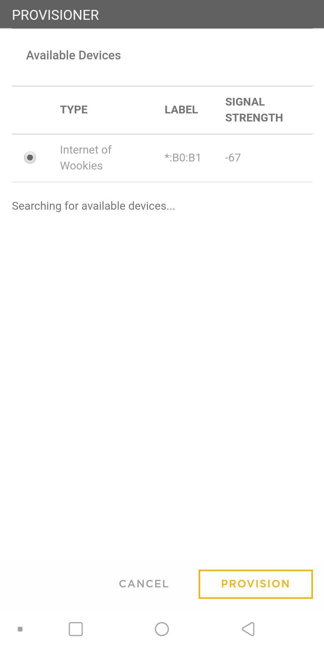 provisioning in app