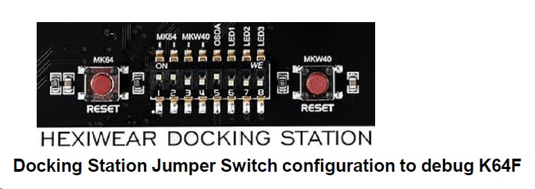 Set the jumper switches of the Docking station to 11001000 to program or debug the Application/K64F controller.
