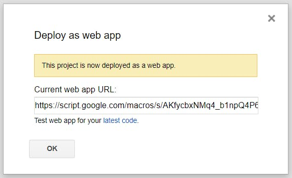Copy the web app URL