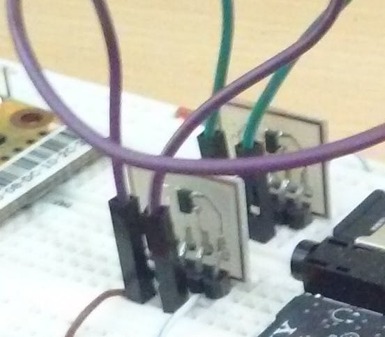 SN74AHC1G125 on proto PCB for breadboard.