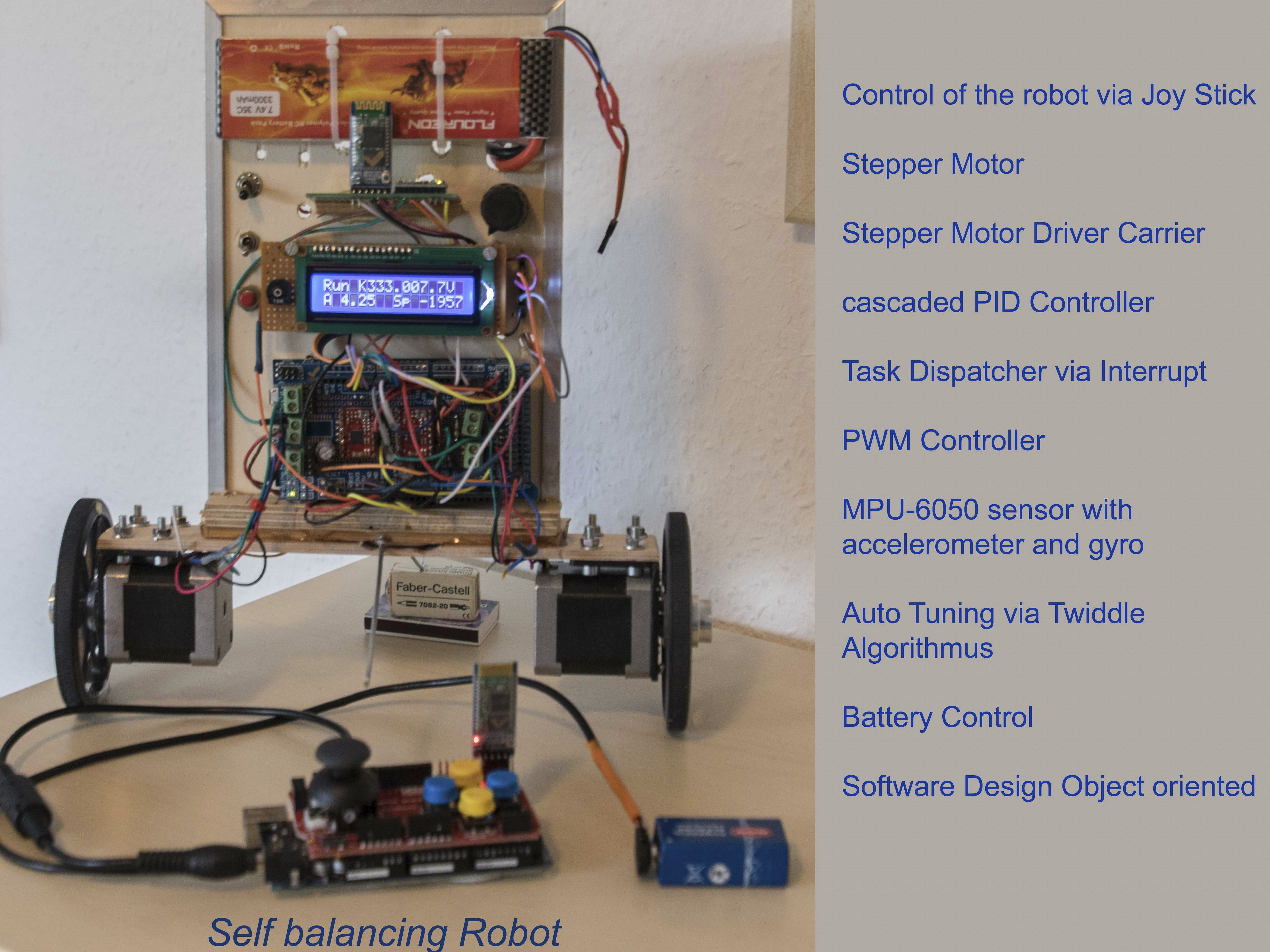two wheeled self balancing robot with stepper motor.