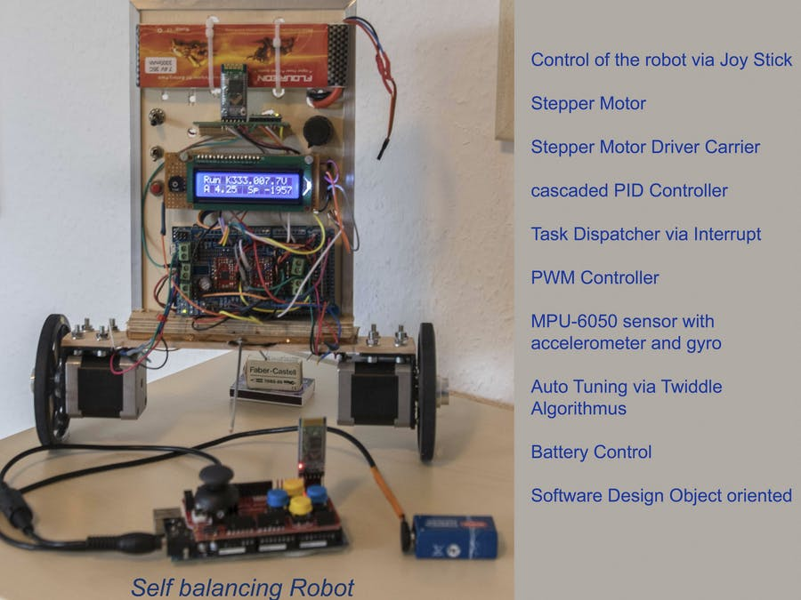 two wheeled self balancing robot with stepper motor  - Arduino