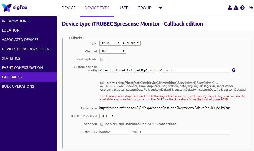 Example of custom callback from Sigfox backend