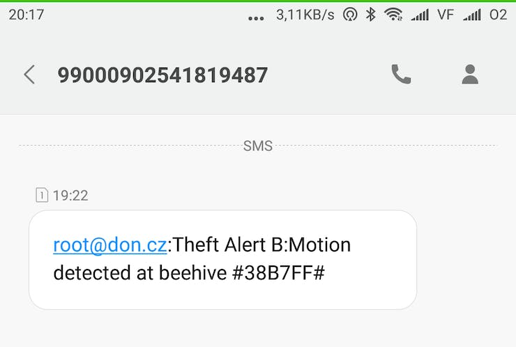 Theft alert SMS (screenshot from mobile)
